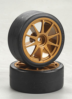 Tamiya Type-D Drift Tires on Gold Wheels (2шт) 51219
