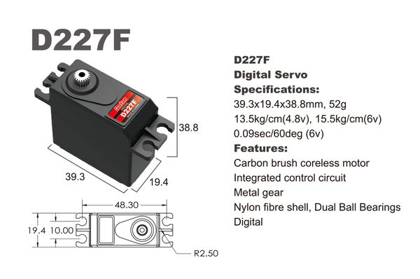Сервомеханизм BATAN D227F MG Digital Servo